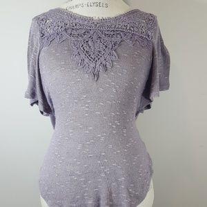 Deletta Anthropologie crocheted neckline sweater